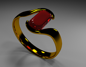 Ring with ruby 3D printable model