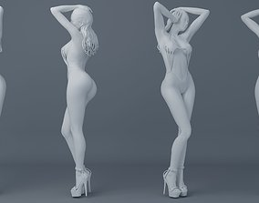 3D printable model Long hair girl wearing bikini 003