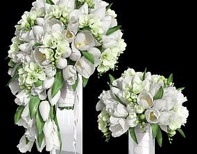 Bridal tulip bouquet 3D model