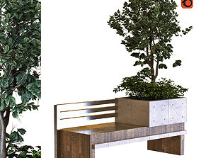 3D asset tree in box set030 bench PBR MTL