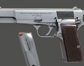 Pistol Browning Low Poly Game Ready 3D asset