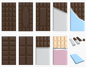 Chocolate bar packaging brown white mock up 3D model