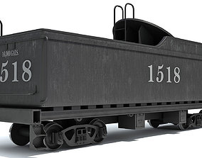 Black Railway Coal Carrying Car Steam Train 3D