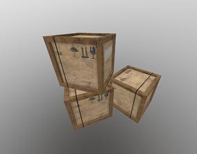 Storage wood box 3D asset