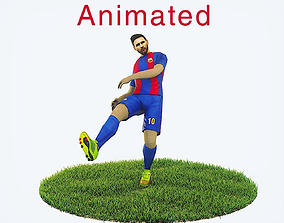 Lionel Messi Game Ready Football Player Kick 3D asset