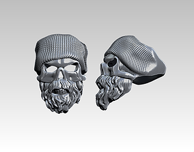Beard Fashion Man Skull ring Detailed 3D printable model