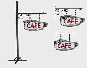 3D asset old wooden cafe sign 02