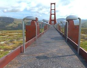 3D model low-poly Golden Gate Bridge