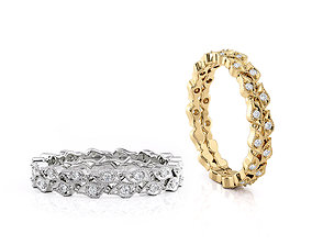 Ring Band Leaves with stones 3D print model brilliant
