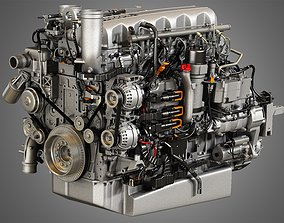 3D model MX13 Heavy Duty Truck Engine - 6 Cylinder Diesel