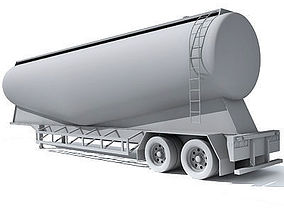 Detailed no texture Tanker Trailer 12 3D
