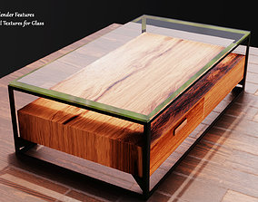 Glass Table with Wood Block 3D asset