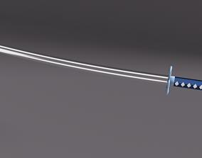 3D model Low Poly Samurai Katana Sword Blue Flower 2