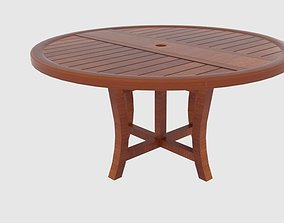 Round Wooden Round Folding Table 2 3D model