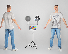 Charming man in A-pose ready for animation 69 3D asset