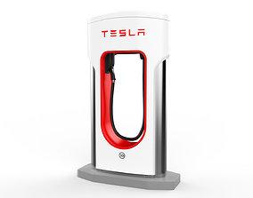 3D Tesla Electric Vehicle Charging Station