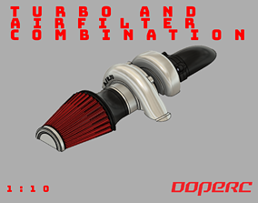 3D print model 1to10 RC Turbo and Airfilter Combination
