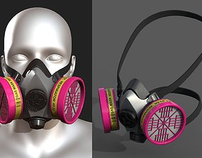 Gas mask plastic protection combat military 3D model