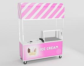 icecream Ice Cream Cart 3D model realtime