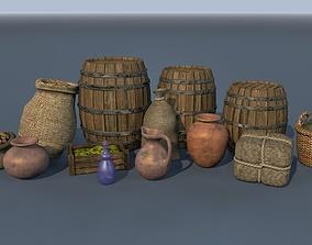 3D model Set no 1 of medieval goods