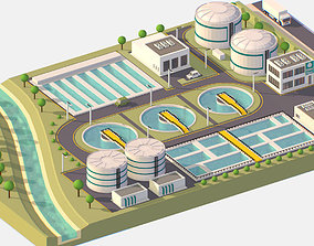 3D model VR / AR ready Isometric Water Treatment Plant