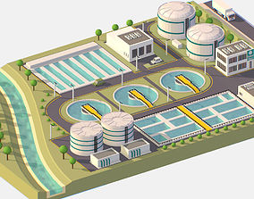 3D model VR / AR ready Isometric Water Treatment Plant