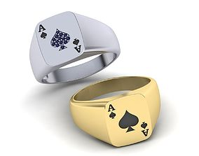 Ace Poker ring 3d model Enameled or with Diamonds