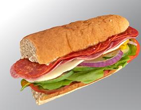 Subway sandwich 3D model low-poly