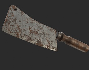 3D model Cleaver Knife Old Rusty and Clean PBR Game Ready