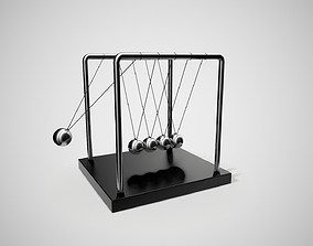 Newtons Cradle Science Toy 3D asset animated