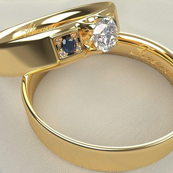 Engraved Diamond Rings
