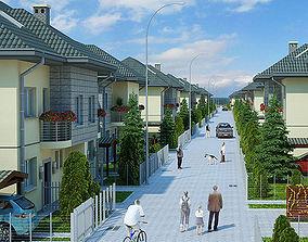 3D Housing Complex Full Scene Render Ready