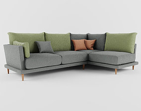 sofa with four seats 3D model