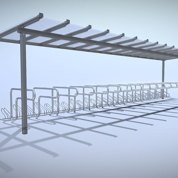 Bicycle Stand [1] Version [9] Glass Roof 10800mm