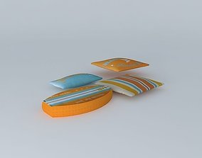 3D model Set of 4 Surf cushions houses the world