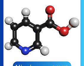 Nicotinic Acid 3D Model Niacin C6H5NO2