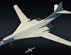Tu-160 supersonic bomber with Kh-55 missile 3D asset