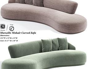Marseille Mohair Curved Sofa 3D