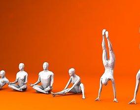 3D asset 6 Training Lowpoly People Minimalist