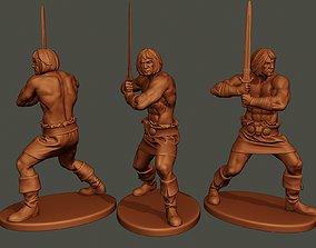 Male Barbarian 2HSword Combat1 3D print model