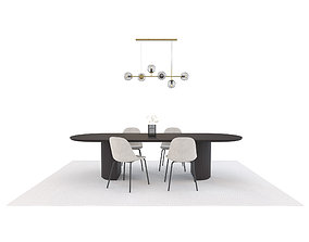 Model Set 08 Moon Dining Table Orb Pendant Harbor Chair 3D