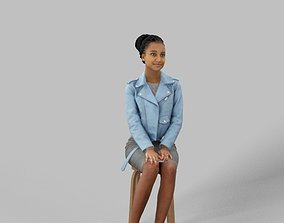 3D model Casual Smart African Woman in a leather jacket 2