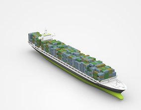 3D Large Freight Ship Loaded With Containers cargo