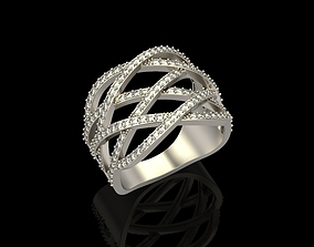 Ring with diamonds 3D print model engagement