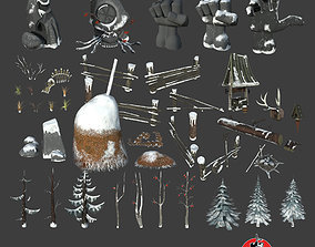 Snow Environment Assets low-poly