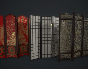 3D model Room Divider Screens Set