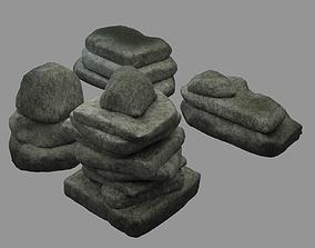 Stones 3D model low-poly