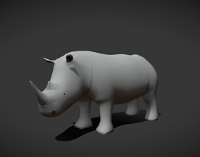3D model Low poly White Rhino - Idle Animated