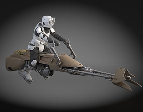3D model Star Wars Scout trooper with Bike