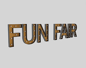 Funfair Sign With Bulb 3D model